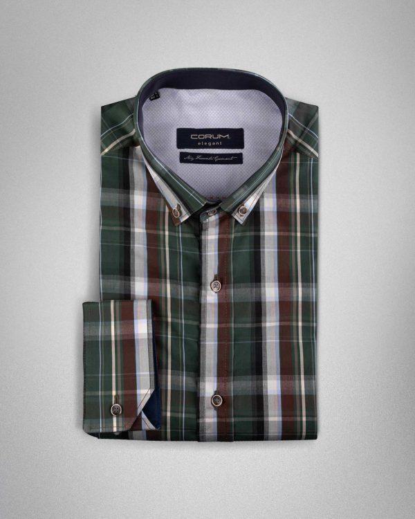 پیراهن مردانه چهارخانه کروم